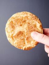 snickerdoodle cookie held