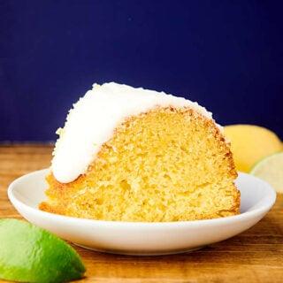 slice of 7up pound cake on plate