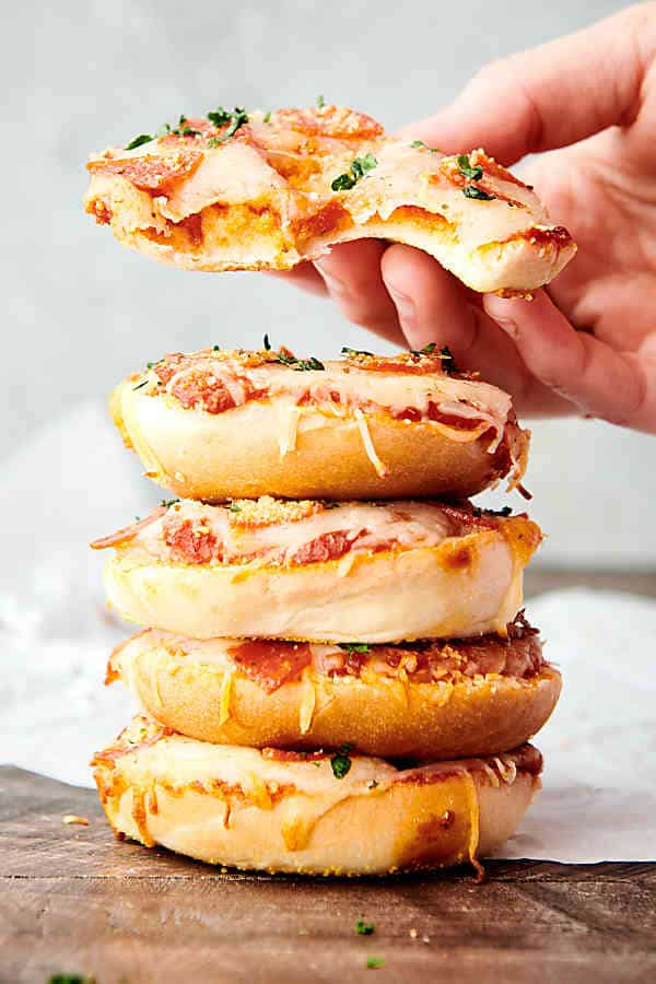 air fryer bagel bites stacked