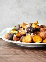 air fryer breakfast potatoes on plate side view