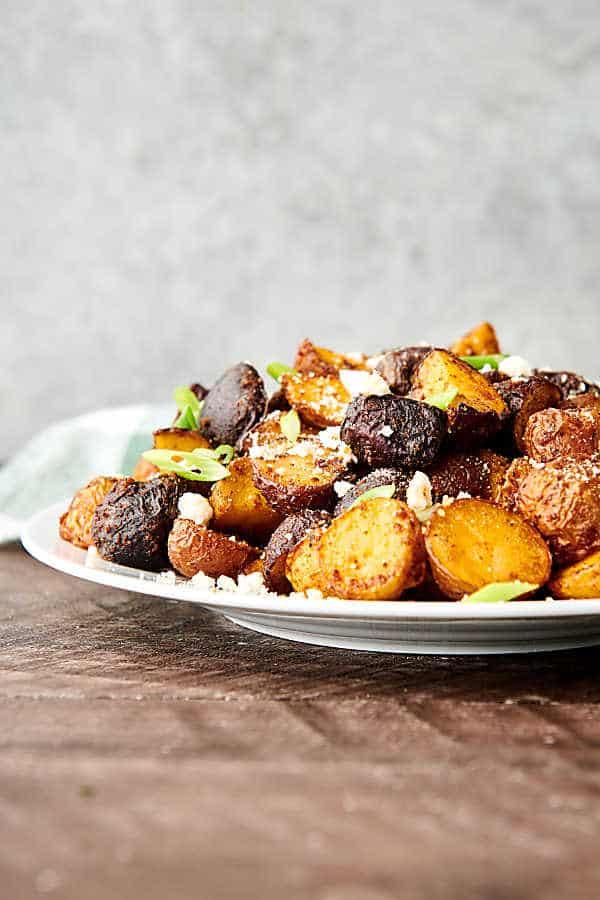 air fryer breakfast potatoes on plate side view