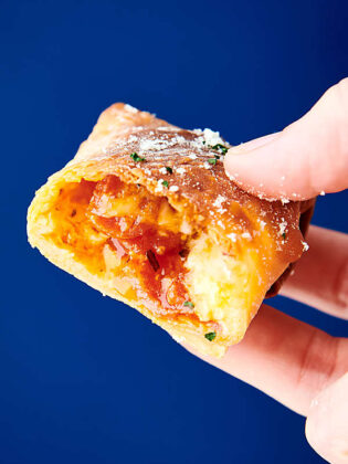 air fryer pizza roll held