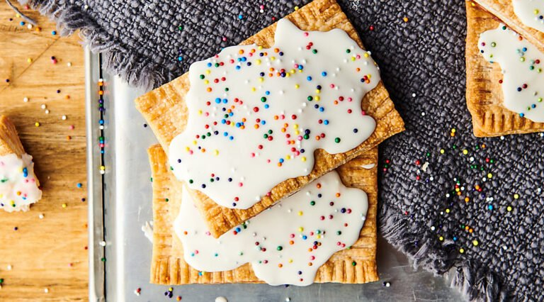 two air fryer strawberry pop tarts above