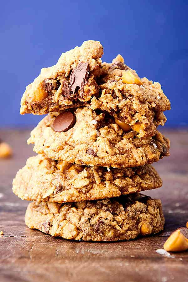 almond flour oatmeal cookies stacked