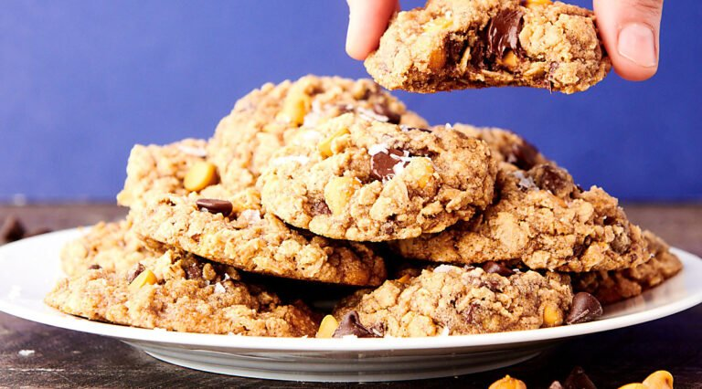 plate of almond flour oatmeal cookies