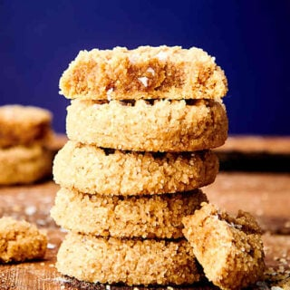 almond flour peanut butter cookies stacked
