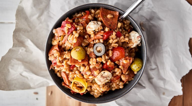 antipasto farro salad bowl above