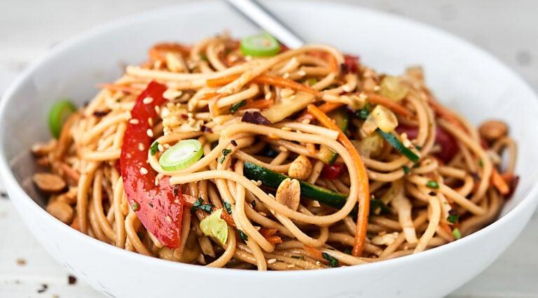 bowl of asian pasta salad