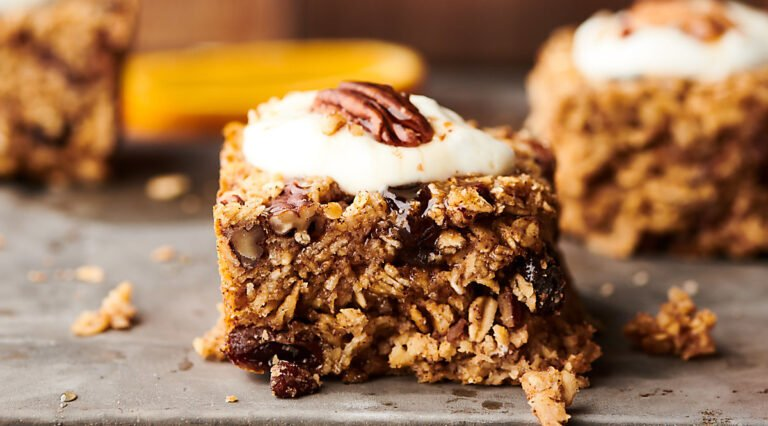 baked oatmeal on cookie sheet