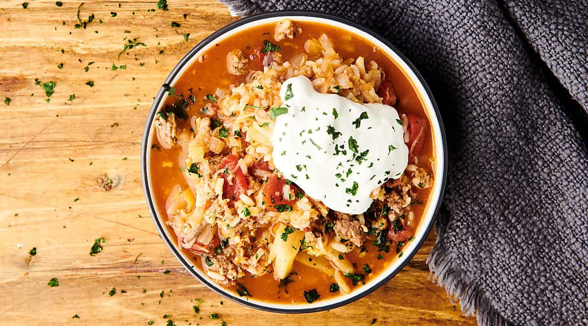 bowl of cabbage roll soup above