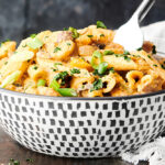 bowl of cajum shrimp pasta