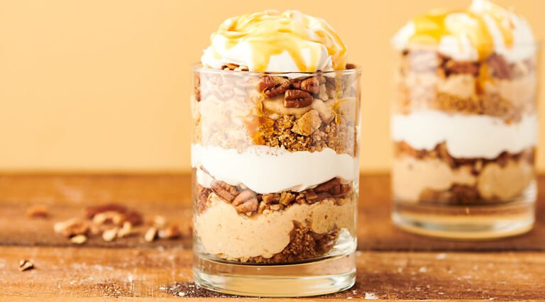 caramel apple cheesecake parfait in cup
