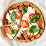 pizza made with cauliflower pizza crust above