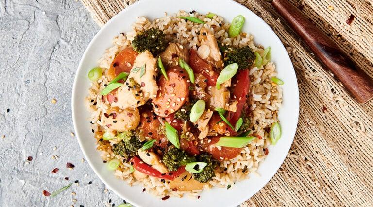 chicken stir fry on plate above