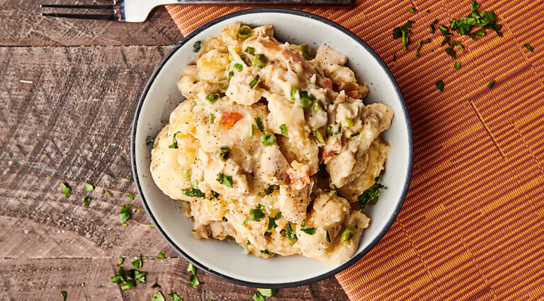 plate of chicken and dumplings above