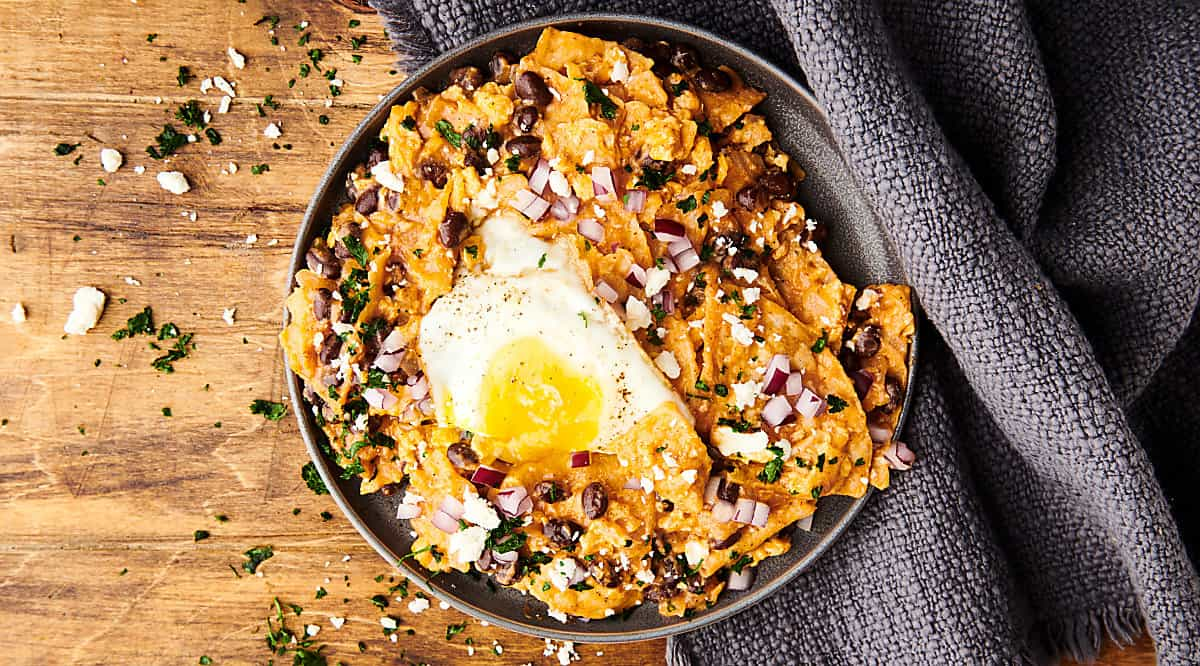 chilaquiles on plate above