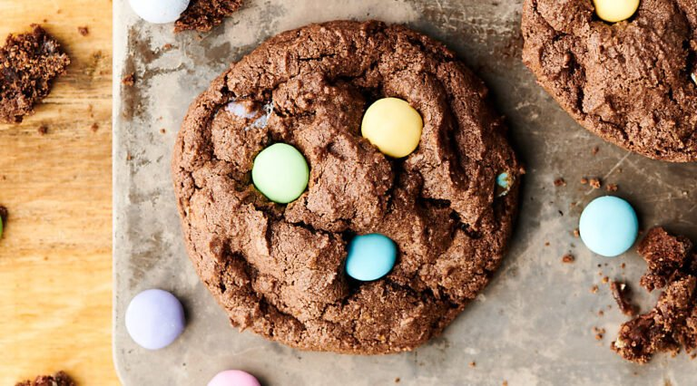chocolate cadbury egg cookie above