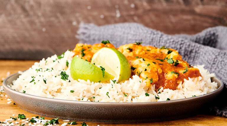 coconut lime rice on plate with chicken