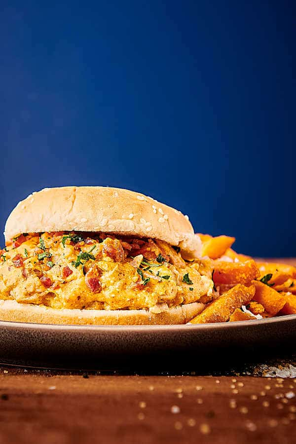 crockpot crack chicken sandwich on plate with fries