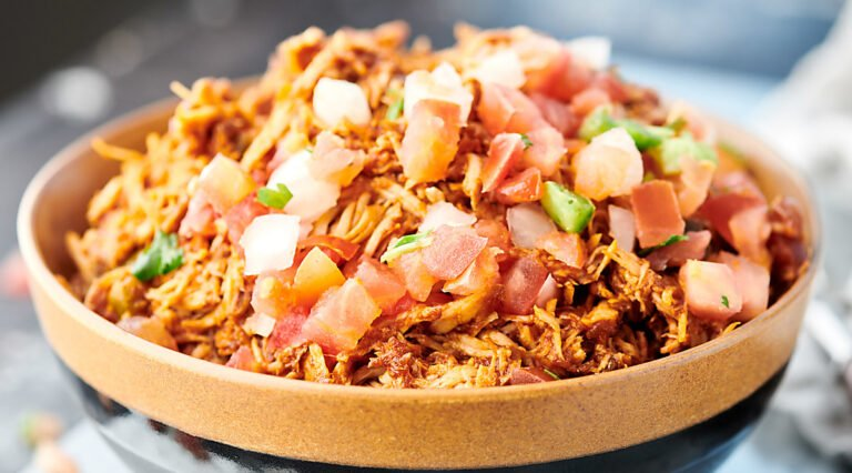bowl of crockpot salsa chicken