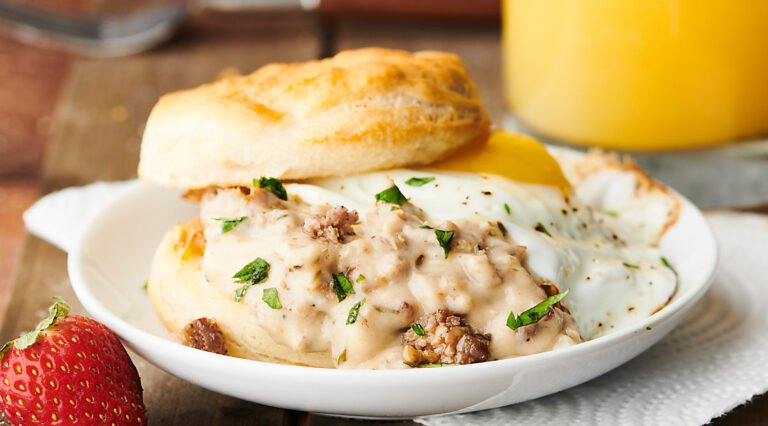 biscuits and gravy on plate
