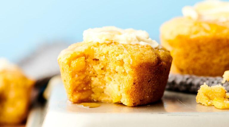 cornbread muffins on cutting board