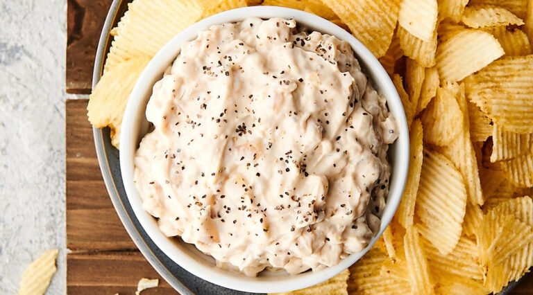 bowl of french onion dip above