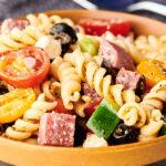 bowl of italian pasta salad