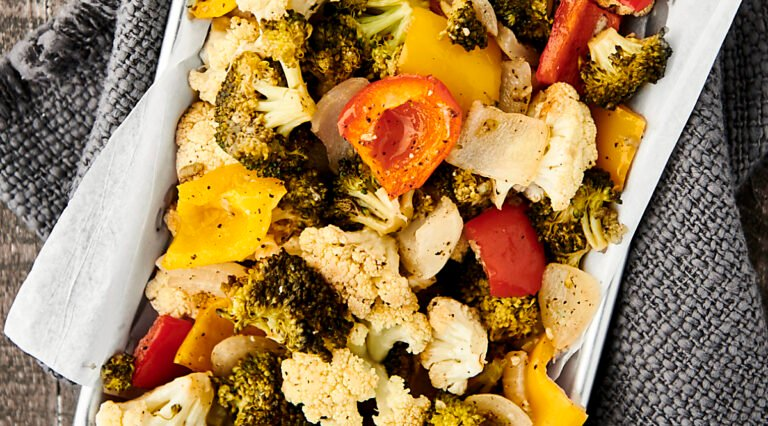 easy roasted vegetables on tray above