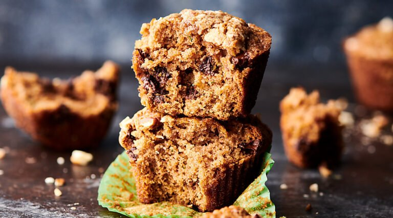 two zucchini muffins stacked