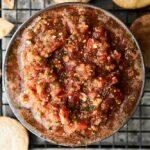 bowl of fresh salsa above