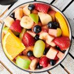 bowl of fruit salad above