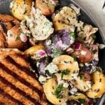grilled potato salad on plate above