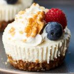 lemon walnut no bake cheesecakes on plate