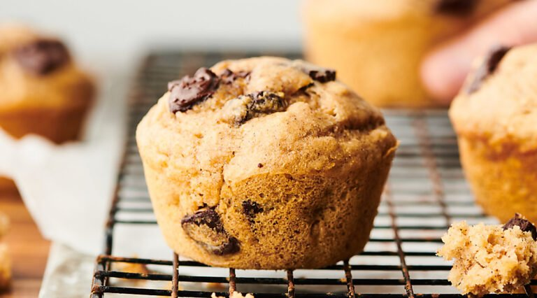 healthy banana pancake muffins on cooling rack