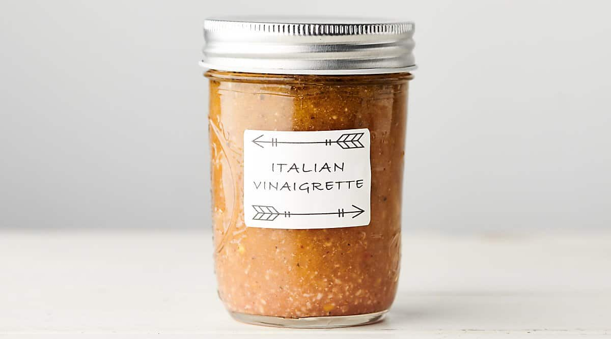 jar of homemade italian dressing