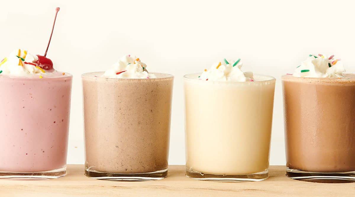 four milkshakes lined up