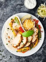 plate of instant pot chicken fajitas above