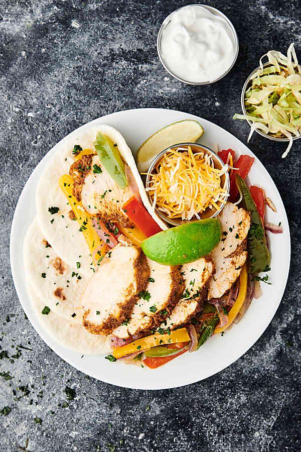 plate of instant pot chicken fajitas above