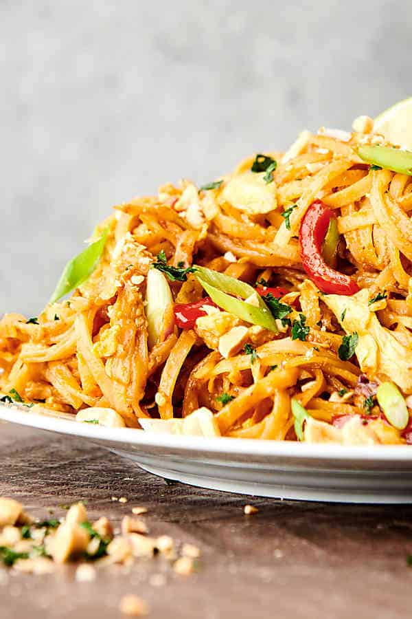 instant pot pad thai on plate