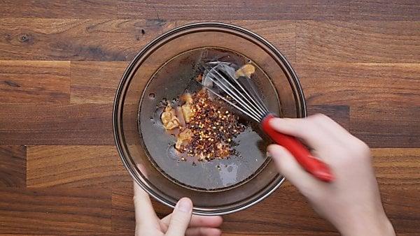 pad thai sauce ingredients in mixing bowl