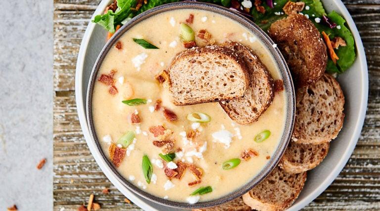 bowl of instant pot potato soup above