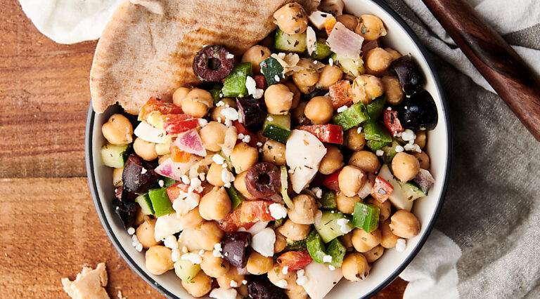 plate with mediterranean chickpea egg salad above