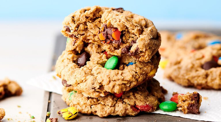 monster cookies stacked