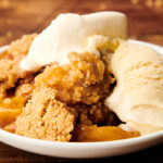 peach cobbler on plate