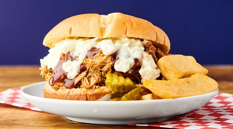 pulled pork sandwich on plate