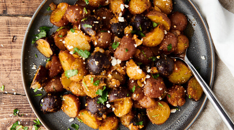 plate of roasted potatoes above