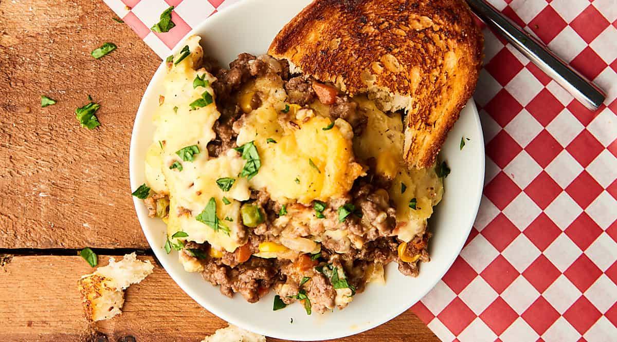 shepherds pie on plate above