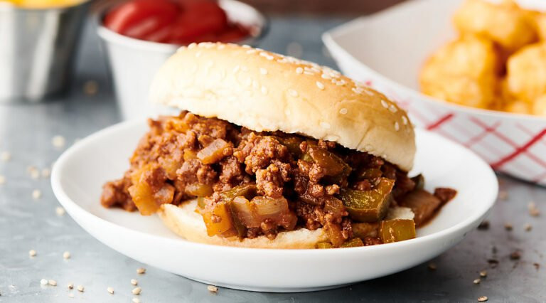 sloppy joe sandwich on plate