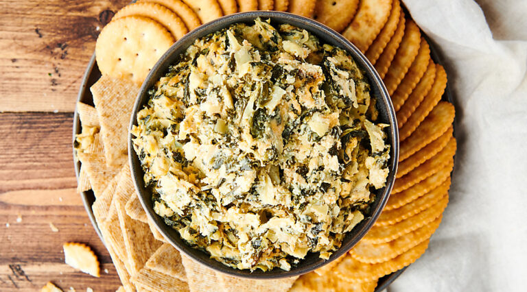 bowl of spinach artichoke dip above